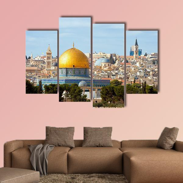Muslims First Holy Place In Jerusalem Palestine Multi Panel Canvas Wall Art 3 Pieces / Small / Gallery Wrap Tiaracle