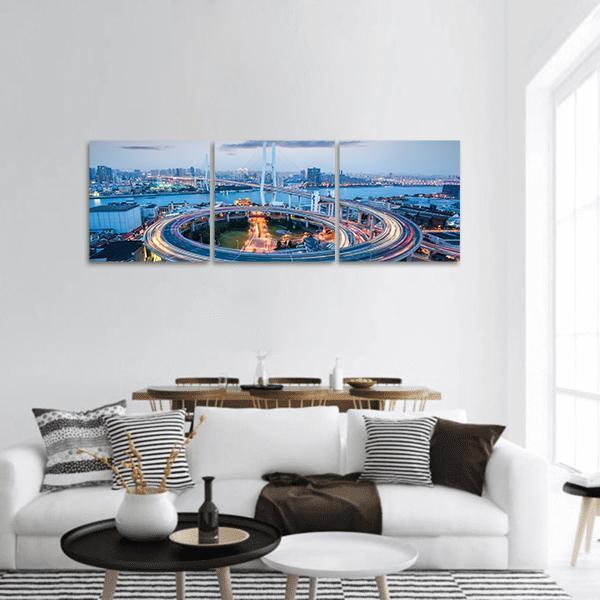 Nanpu Bridge With Huangpu River At Dusk In Shanghai Panoramic Canvas Wall Art 1 Piece / Small Tiaracle