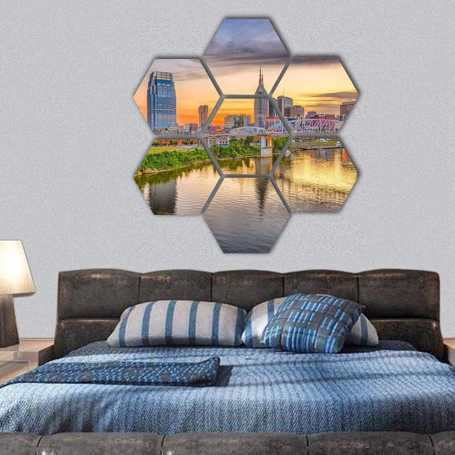 Nashville City Skyline And River Cumberland Hexagonal Canvas Wall Art 1 Hexa / Small / Gallery Wrap Tiaracle