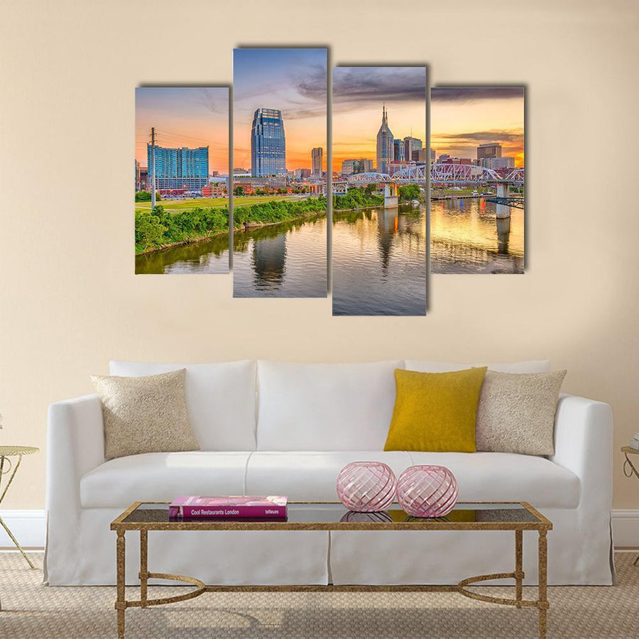 Nashville Downtown City Skyline On Cumberl And River Multi Panel Canvas Wall Art 5 Pieces(A) / Medium / Canvas Tiaracle