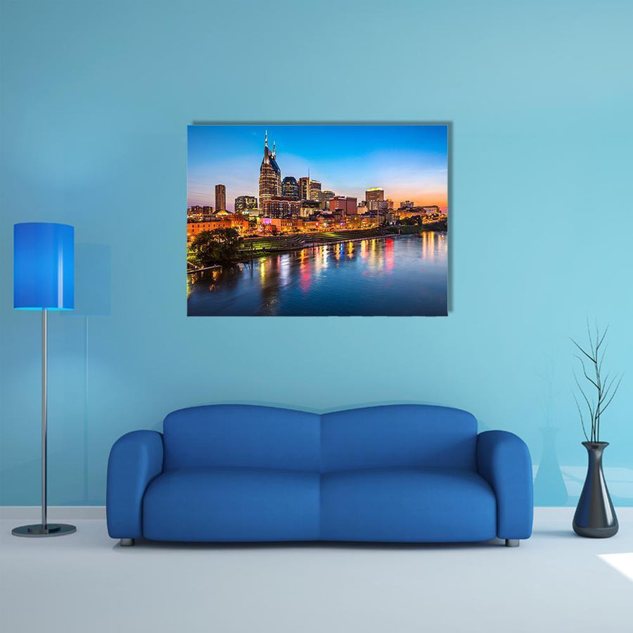 Nashville City Skyline Multi Panel Canvas Wall Art-5 Horizontal-Small-Gallery Wrap-Tiaracle