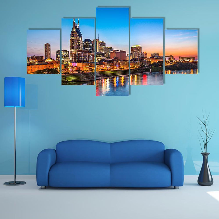 Skyline Of Downtown Nashville Multi Panel Canvas Wall Art 3 Pieces / Medium / Canvas Tiaracle