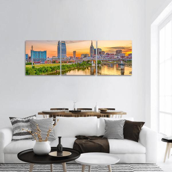 Nashville Downtown City Skyline Panoramic Canvas Wall Art Tiaracle