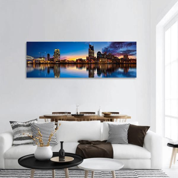 Nashville Skyline At Night Panoramic Canvas Wall Art 3 Piece / Small Tiaracle