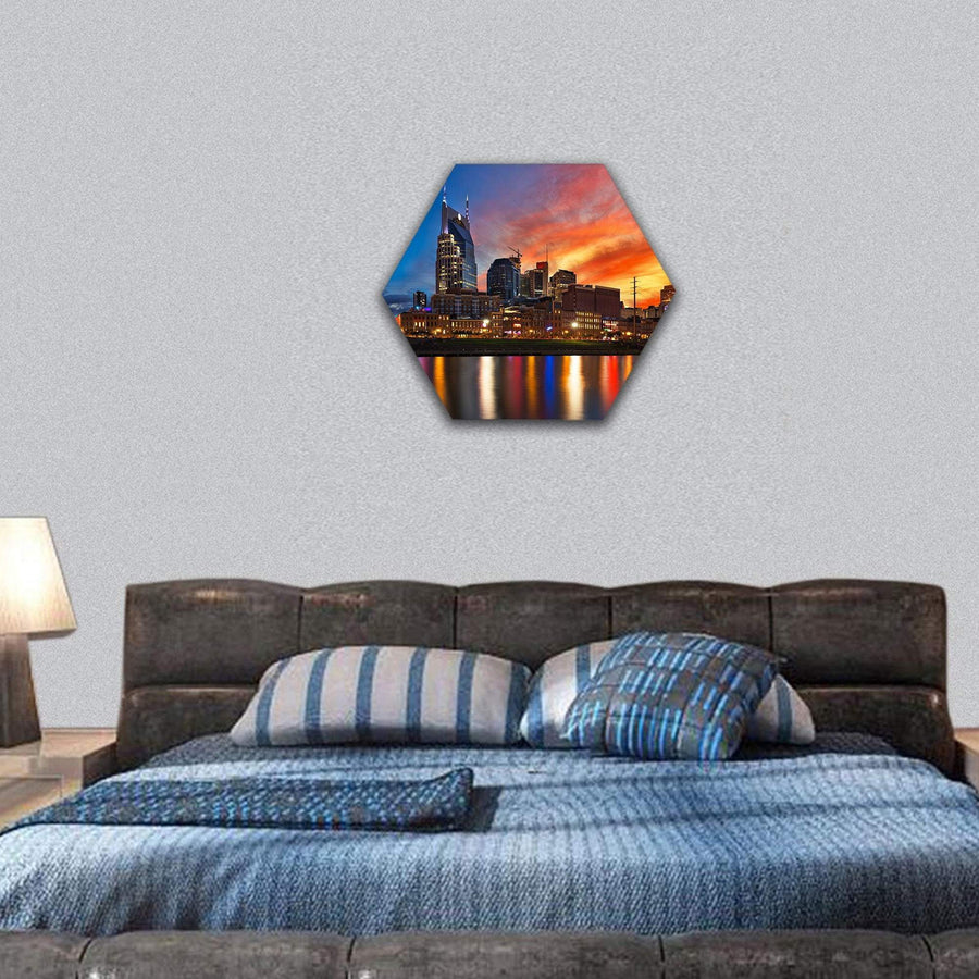 Nashville Skyline At Sunset Hexagonal Canvas Wall Art 7 Hexa / Small / Gallery Wrap Tiaracle