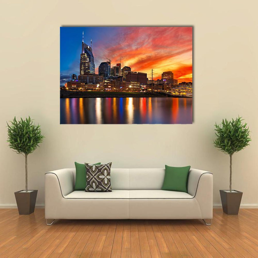 Nashville Skyline At Sunset Multi Panel Canvas Wall Art 5 Pieces(A) / Medium / Canvas Tiaracle