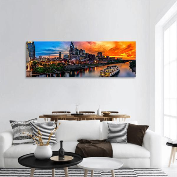 Nashville Skyline At Sunset Panoramic Canvas Wall Art 3 Piece / Small Tiaracle