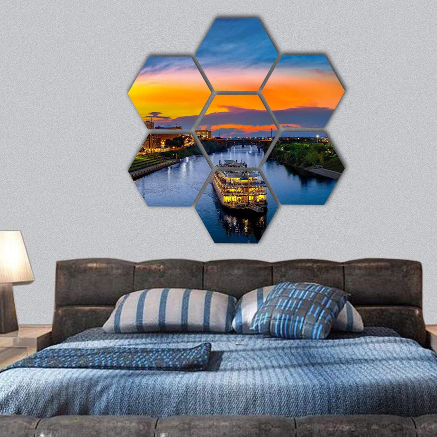 Nashville Skyline With Boat Hexagonal Canvas Wall Art 1 Hexa / Small / Gallery Wrap Tiaracle