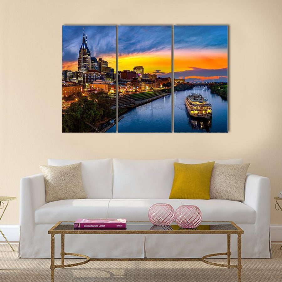 Nashville Skyline With Boat Multi Panel Canvas Wall Art 4 Pieces / Medium / Canvas Tiaracle