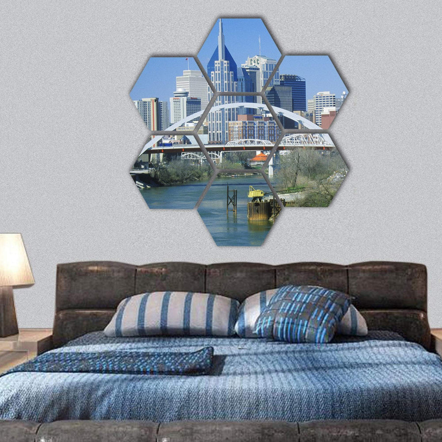 Nashville State Capitol Skyline Hexagonal Canvas Wall Art 1 Hexa / Small / Gallery Wrap Tiaracle