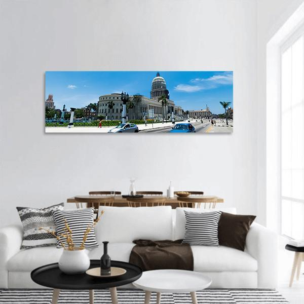 National Capitol Building In Havana Panoramic Canvas Wall Art 3 Piece / Small Tiaracle