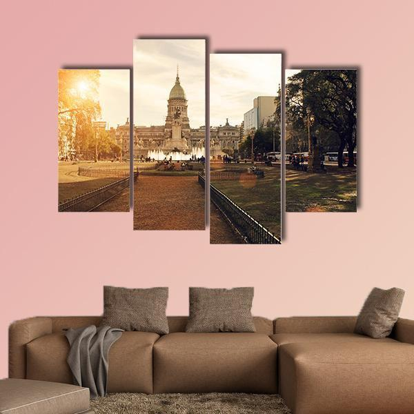 National Congress In Buenos Aires Multi Panel Canvas Wall Art 3 Pieces / Small / Canvas Tiaracle