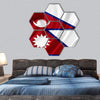 Nepal Waving Flag Hexagonal Canvas Wall Art 7 Hexa / Small / Gallery Wrap Tiaracle