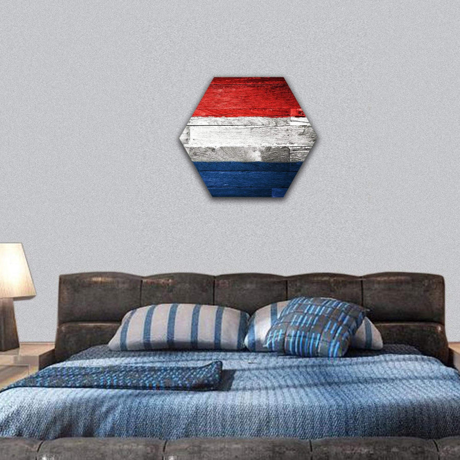 Netherlands Flag Painted On Old Wood Hexagonal Canvas Wall Art 7 Hexa / Small / Gallery Wrap Tiaracle