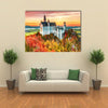 Neuschwanstein Castle In Autumn Season Multi Panel Canvas Wall Art 1 Piece / Small / Gallery Wrap Tiaracle