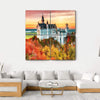 Neuschwanstein Castle In Autumn Season Multi Panel Canvas Wall Art 4 Square / Small / Gallery Wrap Tiaracle