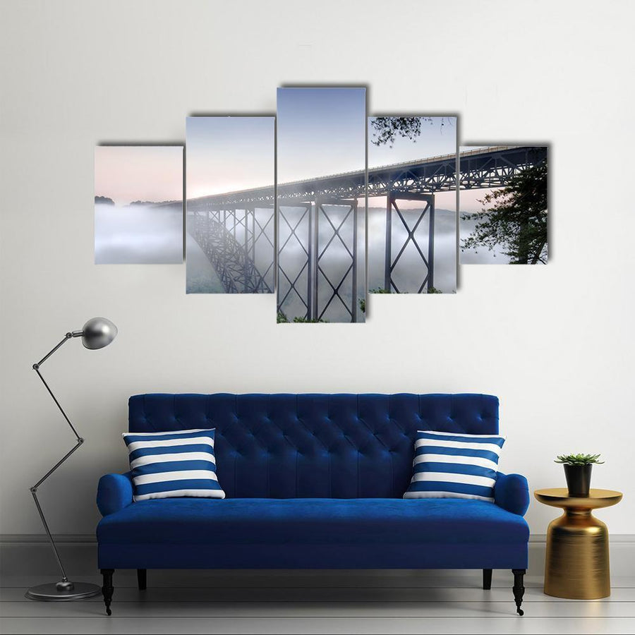 View Of New River Gorge Bridge Multi Panel Canvas Wall Art 5 Pieces(A) / Medium / Canvas Tiaracle