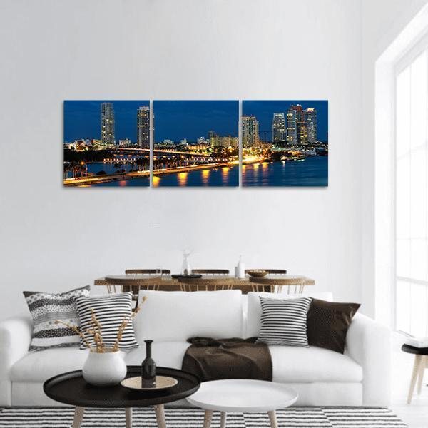 Night In Miami Florida Panoramic Canvas Wall Art 1 Piece / Small Tiaracle