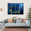 Night Planet Earth With City Lights Multi Panel Canvas Wall Art 4 Horizontal / Small / Gallery Wrap Tiaracle