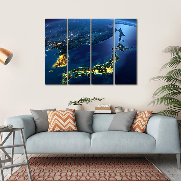 Night Planet Earth With City Lights Multi Panel Canvas Wall Art 1 Piece / Small / Gallery Wrap Tiaracle
