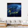 Night Planet Earth With City Lights Multi Panel Canvas Wall Art 4 Square / Small / Gallery Wrap Tiaracle