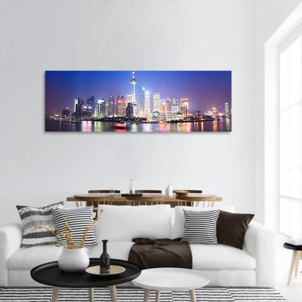 Night Scenery Of Shanghai Skyline Panoramic Canvas Wall Art 3 Piece / Small Tiaracle