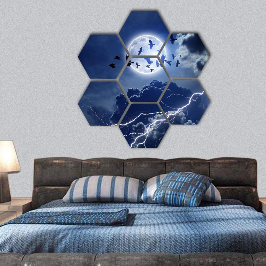 Night Sky With Full Moon, Lightning And Dark Cloud Hexagonal Canvas Wall Art 1 Hexa / Small / Gallery Wrap Tiaracle