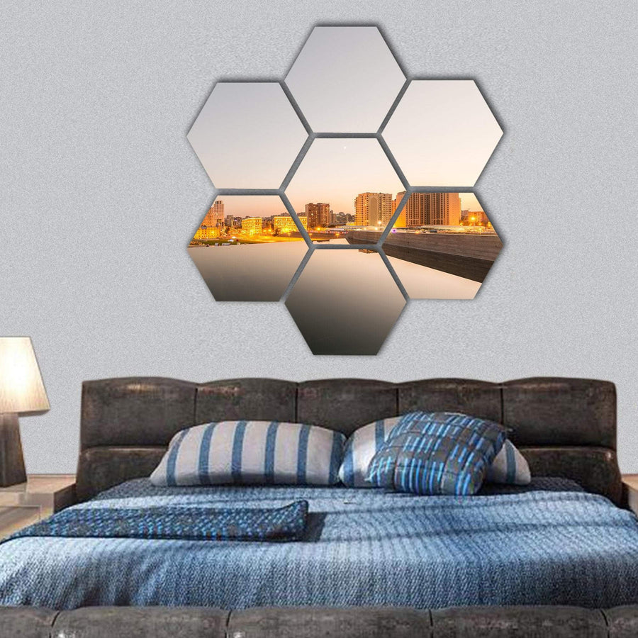 Night View Of Baku During Sunset Hexagonal Canvas Wall Art 1 Hexa / Small / Gallery Wrap Tiaracle