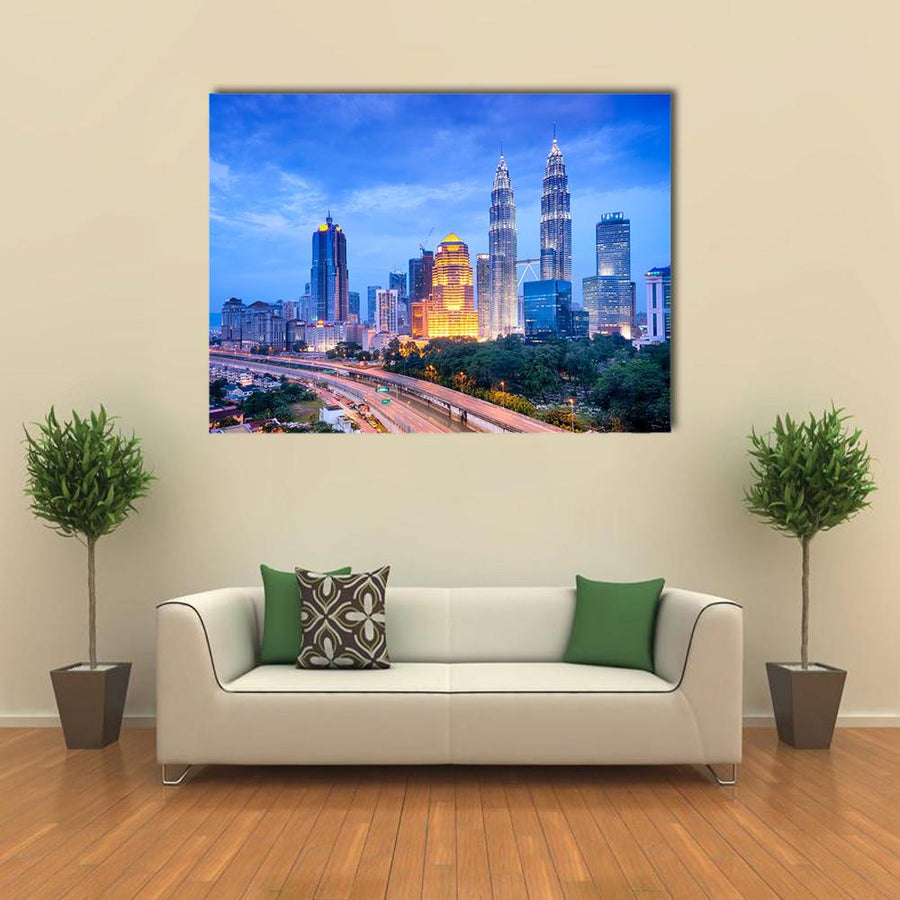 Night View Of Kuala Lumpur Skyline Multi Panel Canvas Wall Art-4 Horizontal-Small-Gallery Wrap-Tiaracle
