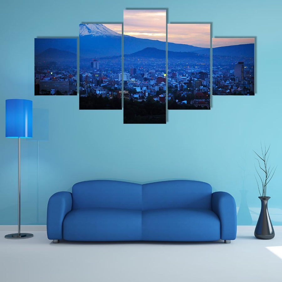 Night View Of Popocatépetl Volcano Mountain Multi Panel Canvas Wall Art 3 Pieces / Medium / Canvas Tiaracle