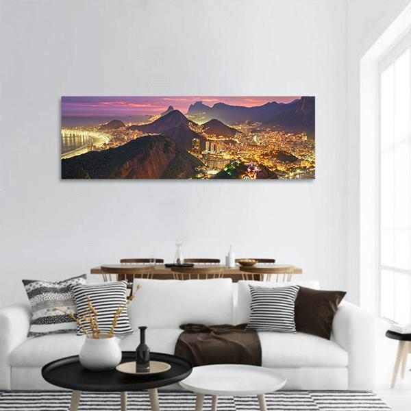 Night View Of Rio de Janeiro Brazil Panoramic Canvas Wall Art 3 Piece / Small Tiaracle