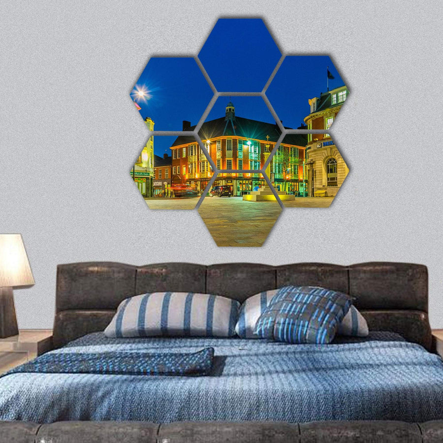 Night View Of Saint Nicholas Square In Leicester Hexagonal Canvas Wall Art 1 Hexa / Small / Gallery Wrap Tiaracle