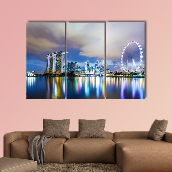 Night View Of Singapore Skyline Multi Panel Canvas Wall Art 5 Pieces(A) / Medium / Canvas Tiaracle