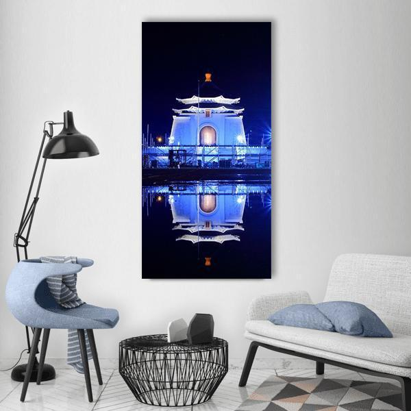 Night View Of Taipei Vertical Canvas Wall Art 3 Vertical / Small / Gallery Wrap Tiaracle