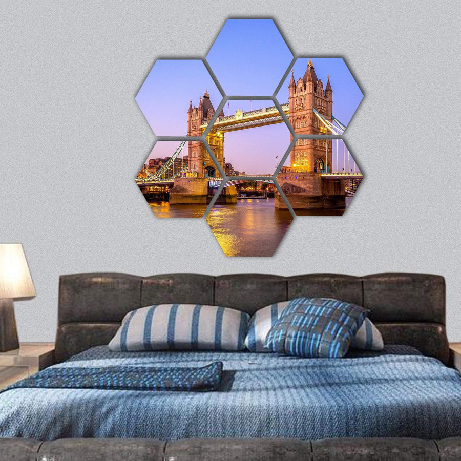 Night View Of Tower Bridge In London Hexagonal Canvas Wall Art 1 Hexa / Small / Gallery Wrap Tiaracle