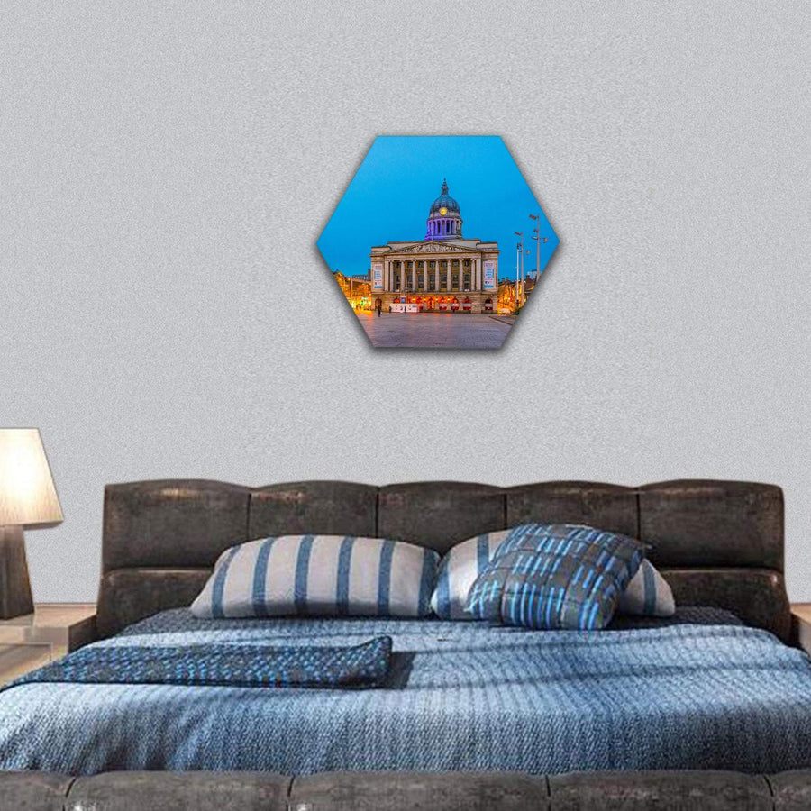 Night View Of Town Hall In Nottingham England Hexagonal Canvas Wall Art 7 Hexa / Small / Gallery Wrap Tiaracle