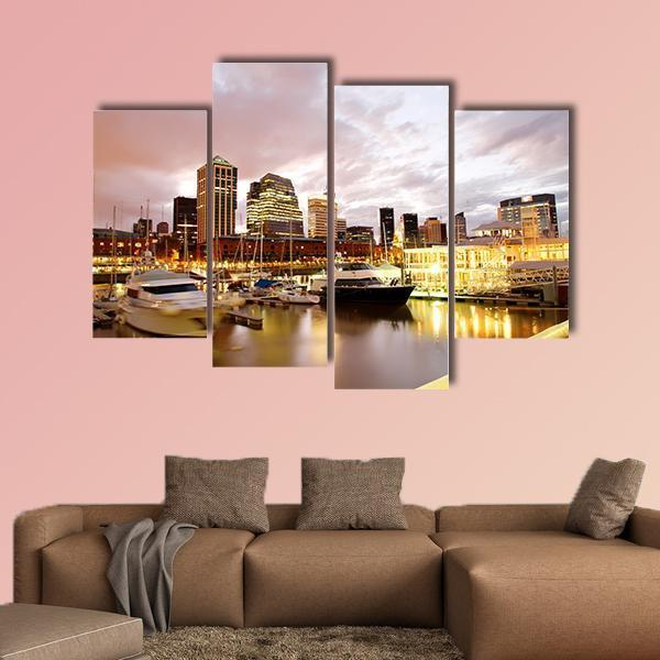 Nightly Panorama Of The Puerto Madero Multi Panel Canvas Wall Art 3 Pieces / Small / Canvas Tiaracle
