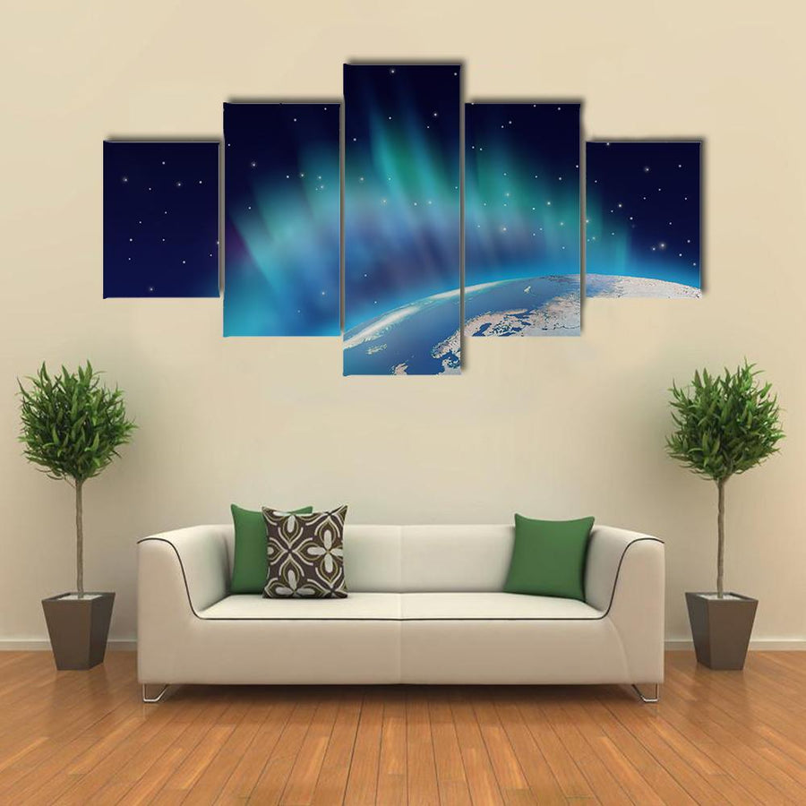 Northern Lights Aurora Borealis Over Planet Earth Multi Panel Canvas Wall Art 4 Pieces / Medium / Canvas Tiaracle