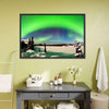 Northern Lights Over Snowy Landscape Canvas Wall Art-Tiaracle