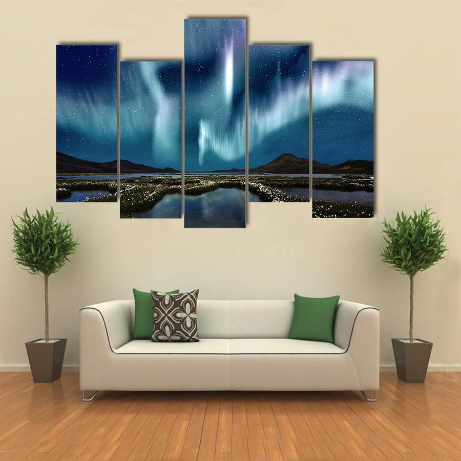 Northern Lights Over The Wildflowers Multi Panel Canvas Wall Art 1 Piece / Medium / Canvas Tiaracle