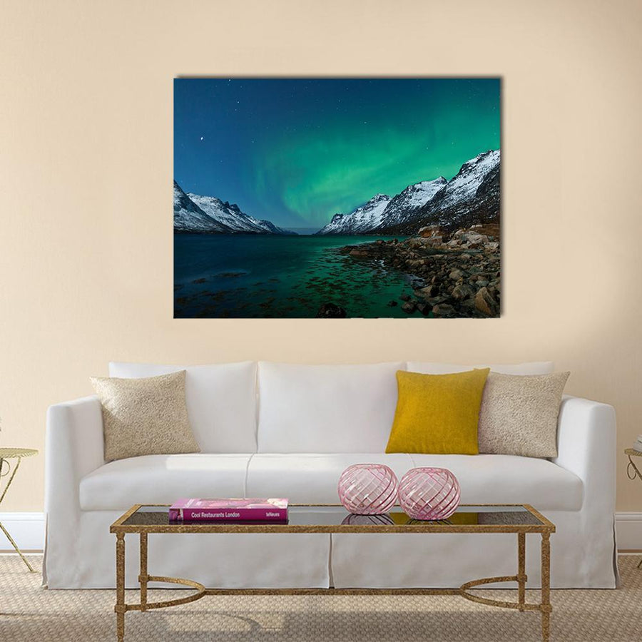 Northern Lights Reflection With Fjords Multi Panel Canvas Wall Art 5 Pieces(A) / Medium / Canvas Tiaracle