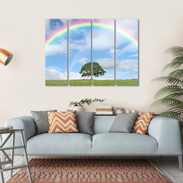 Oak Tree In Summer Against A Blue Sky With Clouds And A Rainbow Multi Panel Canvas Wall Art 1 Piece / Small / Gallery Wrap Tiaracle