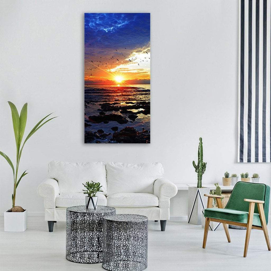 Ocean Beach At Sunset Vertical Canvas Wall Art 3 Vertical / Small / Gallery Wrap Tiaracle