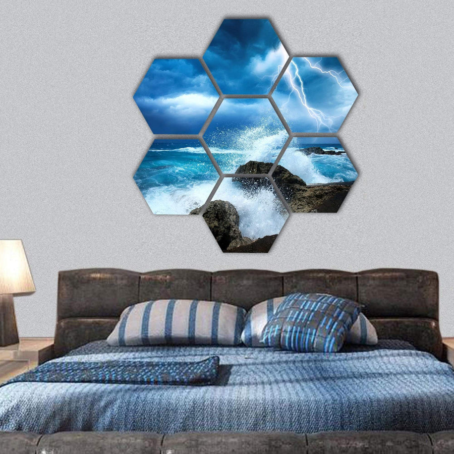 Ocean Storm Hexagonal Canvas Wall Art 1 Hexa / Small / Gallery Wrap Tiaracle