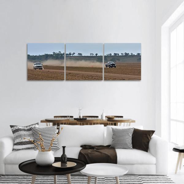 Off Road Drag Race In Fields Panoramic Canvas Wall Art Tiaracle