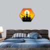 Oil Derrick In The Sea Hexagonal Canvas Wall Art 1 Hexa / Small / Gallery Wrap Tiaracle