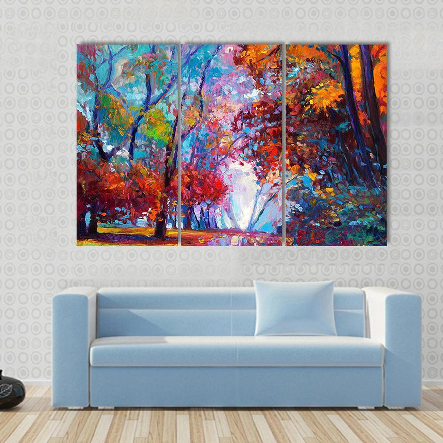 Oil Painting Showing Autumn Forest Abstract Canvas Panel Painting Tiaracle