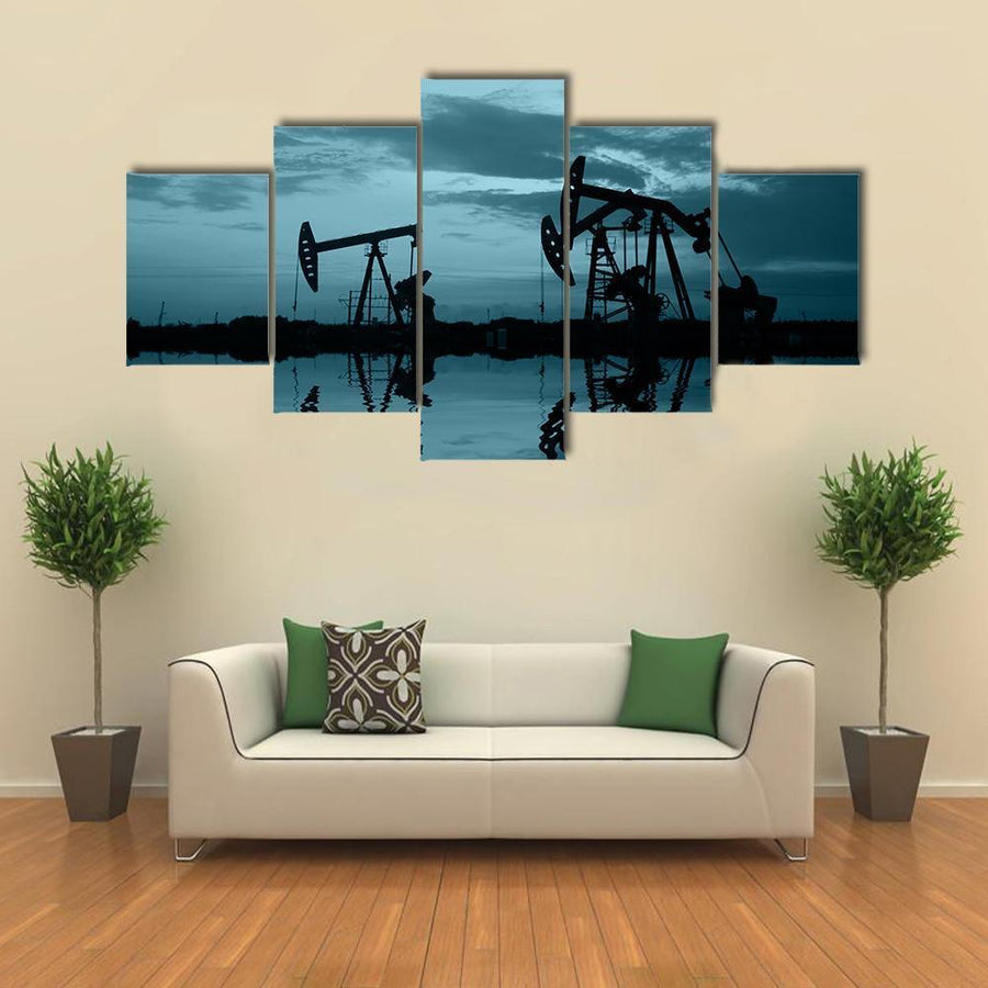 Oil Pipeline And Pumping Unit Multi Panel Canvas Wall Art 4 Pieces / Medium / Canvas Tiaracle