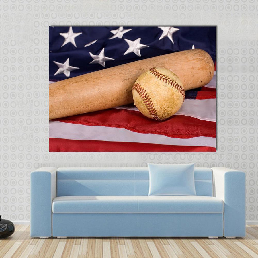 Old Baseball And Bat With American Flag Canvas Panel Painting Tiaracle