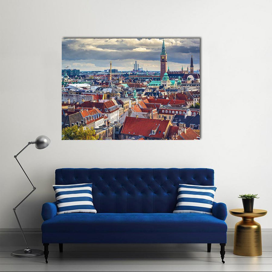 Old City Skyline Of Copenhagen Multi Panel Canvas Wall Art-4 Horizontal-Small-Gallery Wrap-Tiaracle